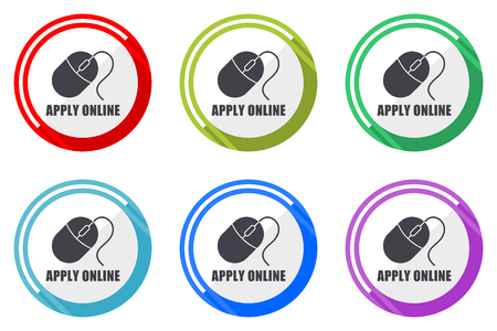 Apply online flat vector web icon set, colorful round internet buttons in eps 10 isolated on white background Illustration