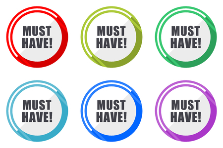 Must have flat vector web icon set, colorful round internet buttons in eps 10 isolated on white background