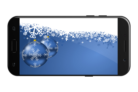 New Year and Christmas greeting card with smartphone mockup and blue balls and snowflakes with empty copy space for text