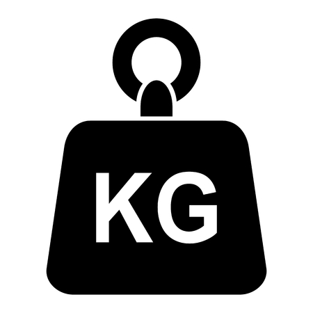 Simple black weight kg kilogram vector icon isolated on white background Stock Vector - 110278575