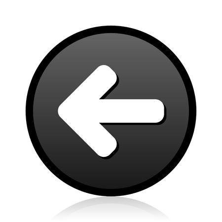 Black round vector Left arrow silver metallic chrome round web icon on white background with reflection