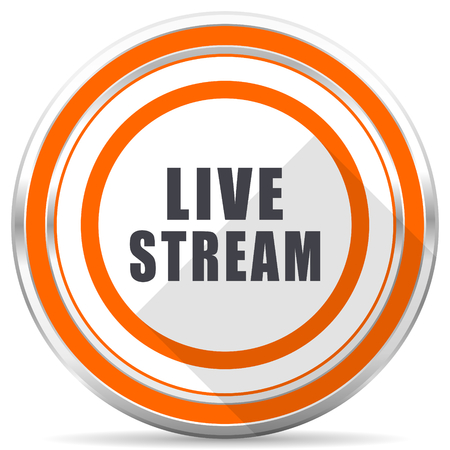 Live stream silver metallic chrome round web icon on white background with shadow