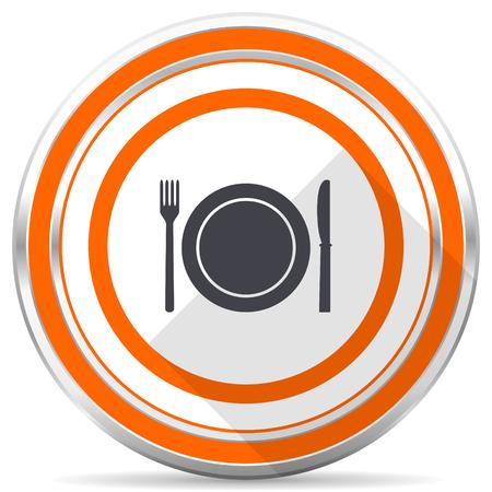 Restaurant silver metallic chrome round web icon on white background with shadow