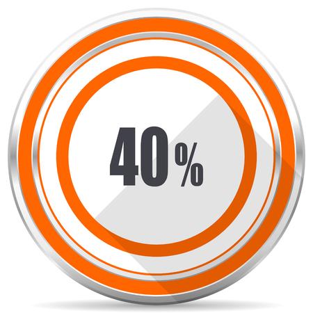 40 percent silver metallic chrome round web icon on white background with shadow