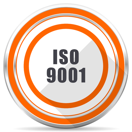Iso 9001 silver metallic chrome round web icon on white background with shadow Archivio Fotografico