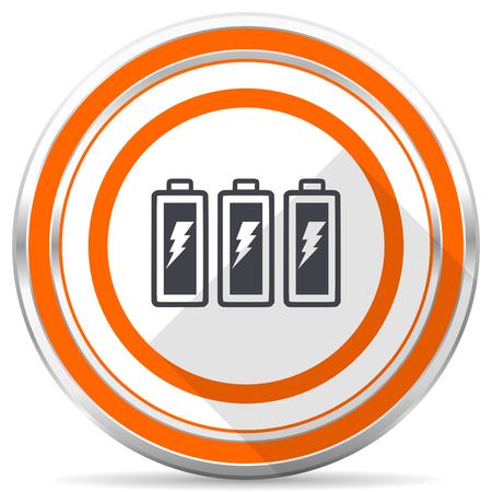 Battery silver metallic chrome round web icon on white background with shadow Stock Photo - 108149081