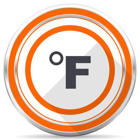 Fahrenheit silver metallic chrome round web icon on white background with shadow Stock Photo