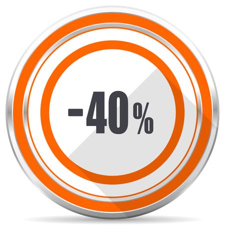 40 percent sale retail silver metallic chrome round web icon on white background with shadow