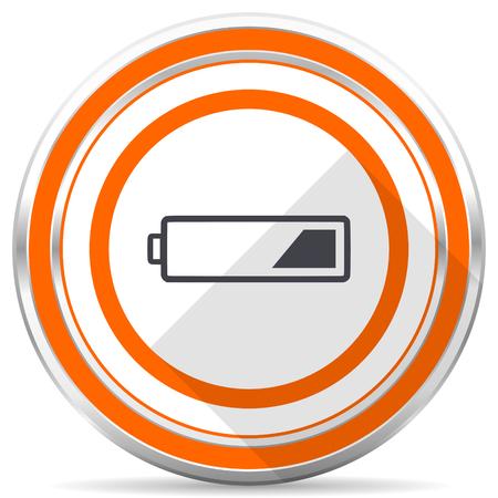 Battery silver metallic chrome round web icon on white background with shadow Stock Photo