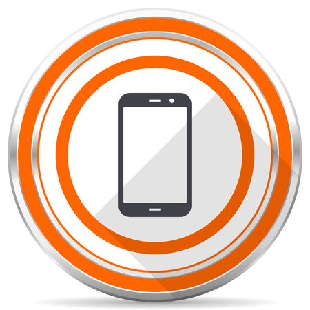 Smartphone silver metallic chrome round web icon on white background with shadow