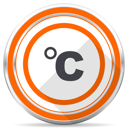 Celsius silver metallic chrome round web icon on white background with shadow Imagens