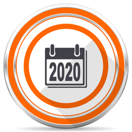 New year 2020 silver metallic chrome round web icon on white background with shadow