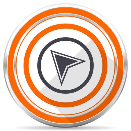 Navigation silver metallic chrome round web icon on white background with shadow