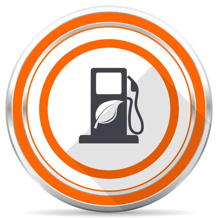 Biofuel silver metallic chrome round web icon on white background with shadow