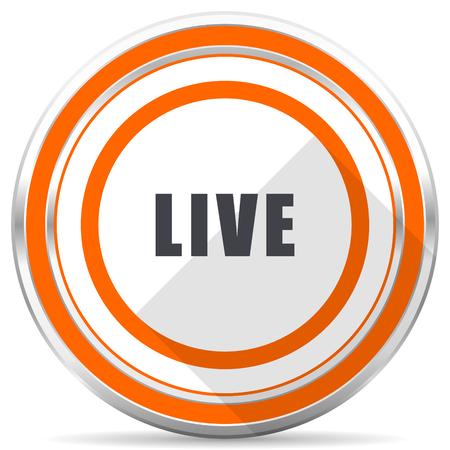 Live silver metallic chrome round web icon on white background with shadow