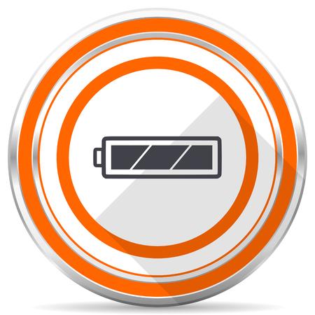 Battery silver metallic chrome round web icon on white background with shadow Stock Photo - 108148966