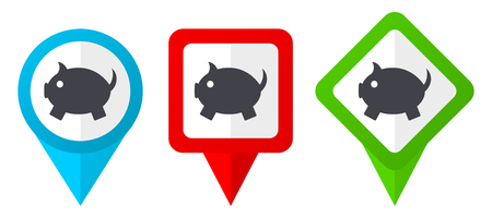 Piggy bank red, blue and green vector pointers icons. Set of colorful location markers isolated on white background easy to edit.