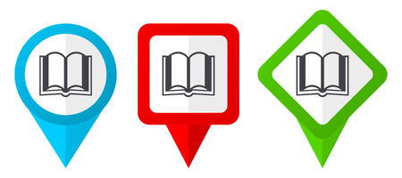 Book red, blue and green vector pointers icons. Set of colorful location markers isolated on white background easy to edit.