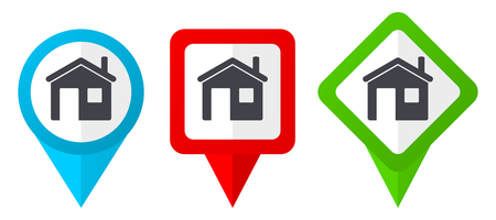 House red, blue and green vector pointers icons. Set of colorful location markers isolated on white background easy to edit.