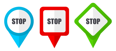 Stop red, blue and green vector pointers icons. Set of colorful location markers isolated on white background easy to edit.