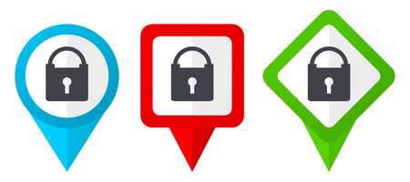 Padlock red, blue and green vector pointers icons. Set of colorful location markers isolated on white background easy to edit.