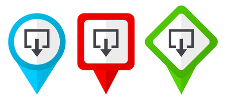 Exit red, blue and green vector pointers icons. Set of colorful location markers isolated on white background easy to edit.