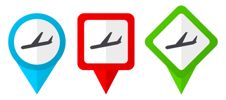 Arrivals red, blue and green vector pointers icons. Set of colorful location markers isolated on white background easy to edit.