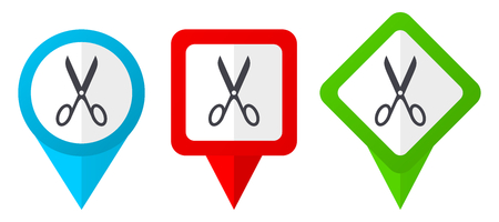 Scissors red, blue and green vector pointers icons. Set of colorful location markers isolated on white background easy to edit. Illustration