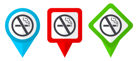 No smoking red, blue and green vector pointers icons. Set of colorful location markers isolated on white background easy to edit. Vettoriali