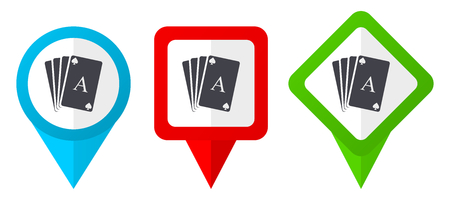 Card red, blue and green vector pointers icons. Set of colorful location markers isolated on white background easy to edit.