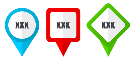 XXX red, blue and green vector pointers icons. Set of colorful location markers isolated on white background easy to edit.