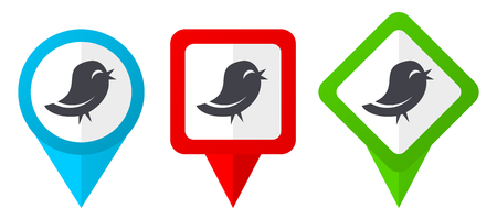 Twitter red, blue and green vector pointers icons. Set of colorful location markers isolated on white background easy to edit.