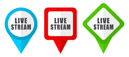 Live stream red, blue and green vector pointers icons. Set of colorful location markers isolated on white background easy to edit. Illustration