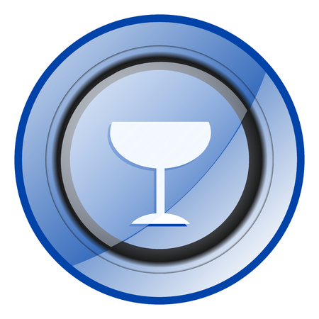Alcohol drink blue glossy web icon