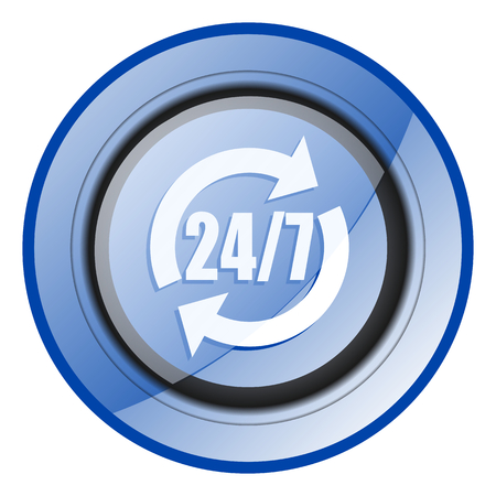 24/7 Service blue glossy web icon