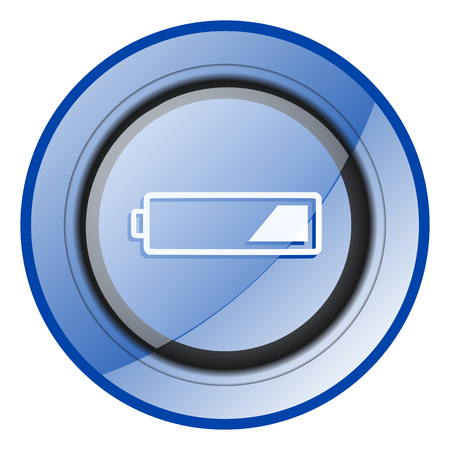 Battery blue glossy web icon Stock Photo