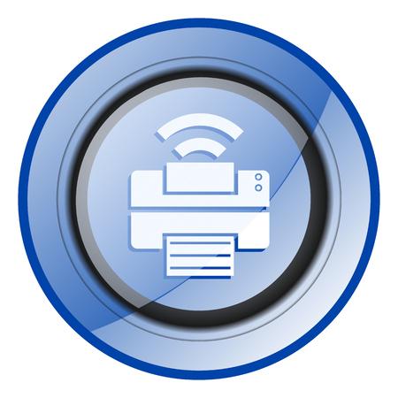 Printer blue glossy web icon 版權商用圖片