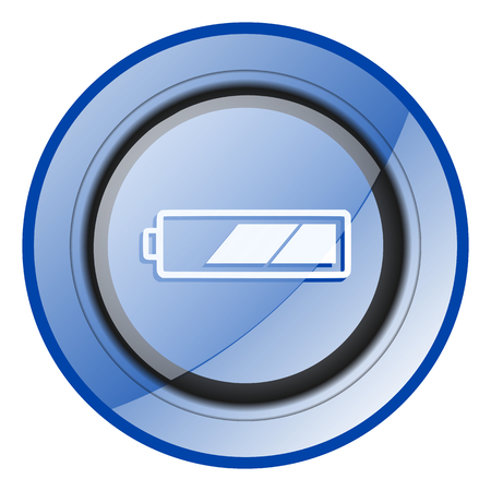 Battery blue glossy web icon Stock Photo
