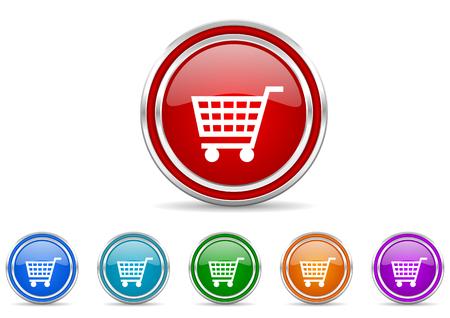 shopping cart shopping cart vector icons set vector icons set Illustration