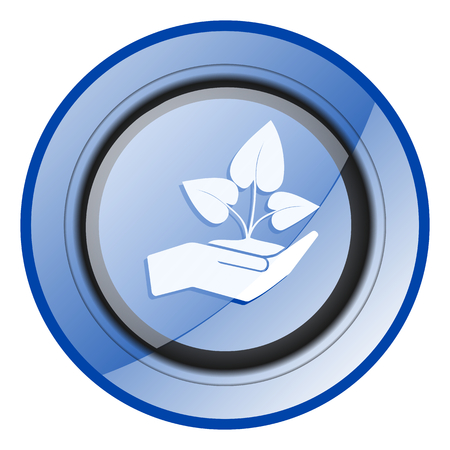 Hand protect plant growth blue glossy web icon