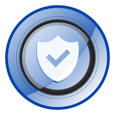 Shield blue glossy web icon Archivio Fotografico