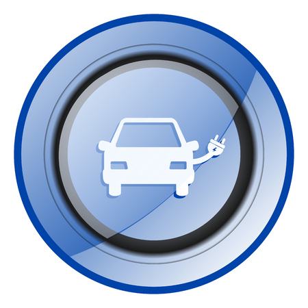 Electric car blue glossy web icon 版權商用圖片