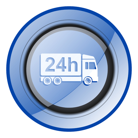 24 hour Delivery blue glossy web icon