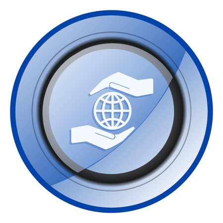 Hand protect the earth blue glossy web icon
