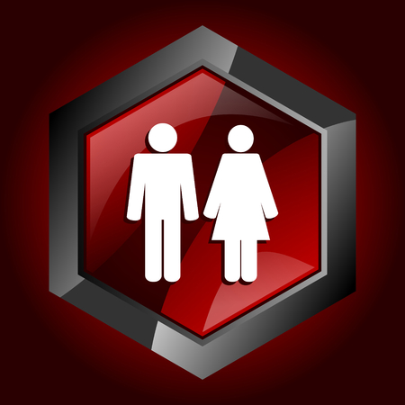 Couple dark red vector hexagon icon Ilustração