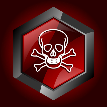 Skull dark red vector hexagon icon