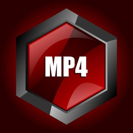 MP4 dark red vector hexagon icon