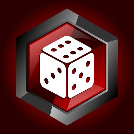 Game dark red vector hexagon icon