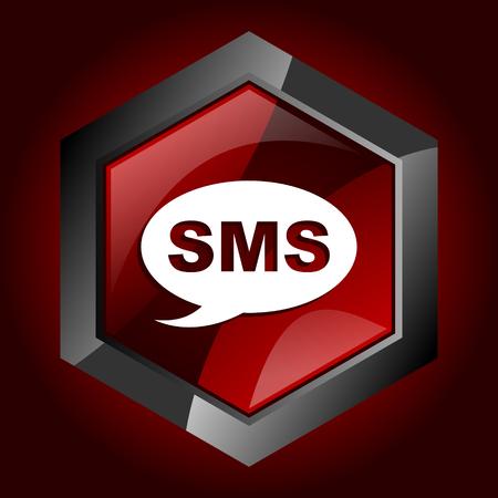 Sms dark red vector hexagon icon Иллюстрация