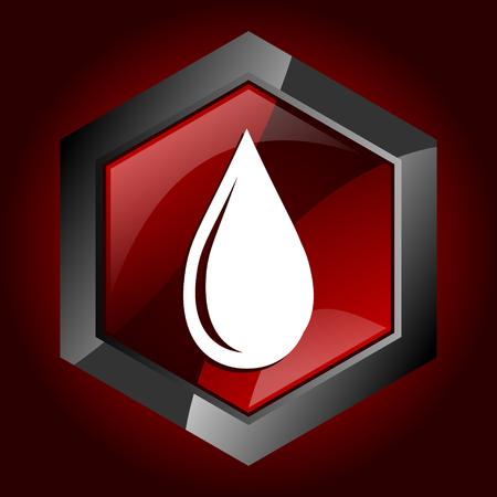 Water drop dark red vector hexagon icon